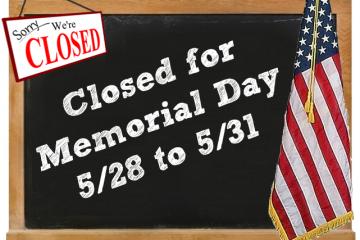 Studio Closed for Memorial Day